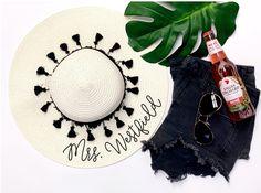 21d701fc1477c Floppy Beach Hat Personalized Bride Hat Floppy Hat with Name Custom  Personalized Beach Hat Honeymoon Must Have Honeymoon Gifts