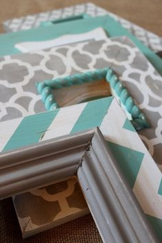 turquoise and gray painted frames - guest bedroom colors