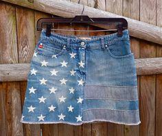 80s Jean Mini Skirt, American Flag