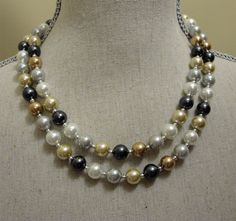 Multi Colored Pearls Necklace Set with Earrings by AlexiBlackwellBridal, $69.00