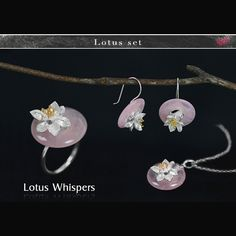 Lotus Fun Real 925 Sterling Silver Rose Quartz Flower Wedding Jewelry Sets for Women Earrings/Resizable Rings/Necklace Pendants