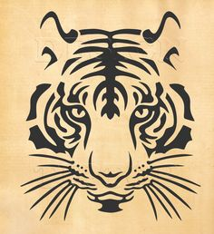 Tiger SVG head of a tiger svg dxf eps png print and cut file for Silhouette Cricut tattoo design t-shirt designs wall decor Stencil Animal, Tiger Stencil, Tiger Outline, Kopf Tattoo, Cricut Design Studio, Scroll Saw Patterns, Cross Patterns, Wood Patterns, T Shirt Designs