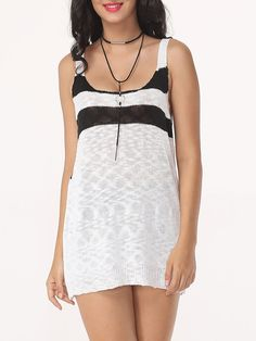 Color Block Striped Delightful Scoop Neck Sleeveless-t-shirts