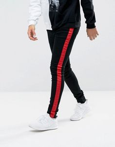 Sixth June Muscle Fit Super Skinny Jeans In Black With Red Stripe - Bl Moda  Hombre d26f75ebef0e