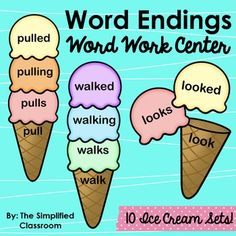 Word Endings / Inflectional Endings WORD WORK Center by The Simplified Classroom - Great for Kindergarten or First Graders!