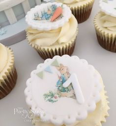 Beatrix Potter Peter Rabbit cupcakes first birthday First Birthday Cupcakes, Mini Cupcakes, Beatrix Potter Cake, Luxury Cake, Sugar Cake, How To Make Cookies, Peter Rabbit, Celebration Cakes, Celebrity Weddings