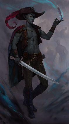 m Drow Elf Rogue Assassin Leather Armor Hat Cloak Sword Dagger Underdark Jarlaxle by DashaFid Dungeons And Dragons Art, Dungeons And Dragons Characters, D D Characters, Fantasy Characters, Fantasy Male, Fantasy Warrior, Fantasy Character Design, Character Art, Drow Male
