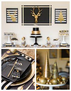Modern Black + Gold Christmas Party via Kara's Party Ideas KarasPartyIdeas.com Cake, printables, decor, tutorials, desserts, recipes, and more! #christmas #christmasparty #modernchristmasparty #blackandgold #modernholidayparty #christmaspartyideas (1)