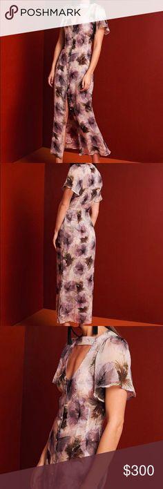 Silk chiffon green dahlia print Lined with red dahlia print Stone Cold Fox Dresses Midi