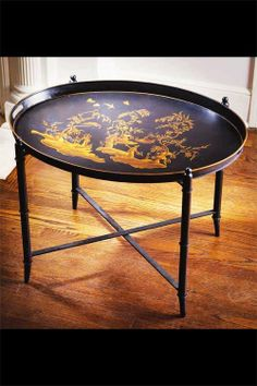 Oval Hand Painted Black Chinoiserie Tole Tray Table