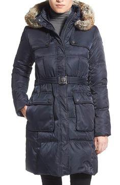 Vince Camuto Belted FauxFur Trim Down & Feather Fill Coat available at #Nordstrom