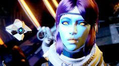 My awoken hunter in Destiny :3 took this during a cut scene xD she's cyoot :o