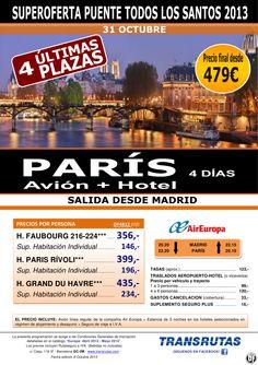 PARÍS ¡4 últimas plazas Puente Todos Santos: salida 31 Octubre desde Madrid! 4 días desde 479€ - http://zocotours.com/paris-4-ultimas-plazas-puente-todos-santos-salida-31-octubre-desde-madrid-4-dias-desde-479e/
