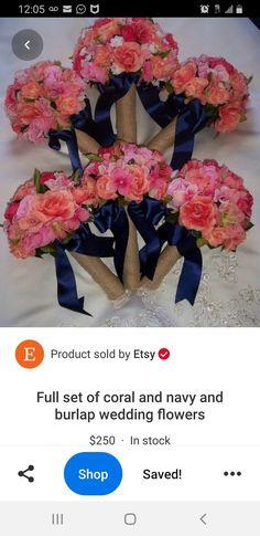 Blue Coral Weddings, Coral Blue, Wedding Flowers, Burlap, Etsy, Hessian Fabric, Jute, Bridal Flowers, Canvas