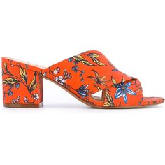 Sam Edelman Stanley sandals ($126) ❤ liked on Polyvore featuring shoes, sandals, orange, genuine leather shoes, floral-print shoes, flower print shoes, open toe shoes and floral print sandals