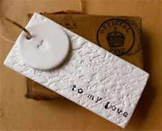 Clay Tags - Love Letter Gift Tags (2 in 1) - Vintage Script and Heart Motif  - White Clay