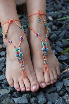 Barefoot Sandal MicroMacrame Foot Jewelry Bohemian by JJJCrafts, $65.00