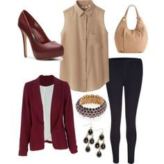 Fall business casual, deep red, navy, and tan