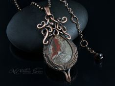 Wire Wrapped Mushroom Rhyolite Necklace  Copper by MyWillowGems