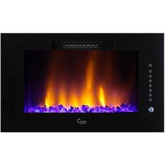 Style Selections In W BTU Black Metal WallMount Fan - Style selections electric fireplace