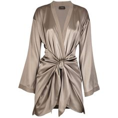 La Perla Satin silk-blend robe (£280) ❤ liked on Polyvore featuring intimates, robes, lingerie, pajamas, dresses, satin lingerie, bath robes, satin dressing gown, la perla and satin robe