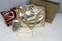 stella mccartney falabella metallic shoulder bag Louis Vuitton Bags, Stella Mccartney Falabella, Designer Handbags, Leather Shoulder Bag, Hermes, Metallic, Chanel, Purse, Gifts