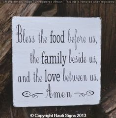 Bless The Food Before Us, The Family Beside Us and The Love Between Us Amen, Blessing Sign, Kitchen Décor, Verse, Religious, Scripture, Prayer, Dining Room Sign