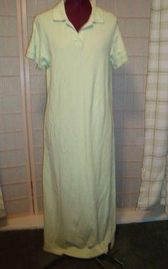 L. L. Bean Sz M Women's Pastel Green Polo Shirt Style Pencil Dress Maxi Long #LLBean #Shift