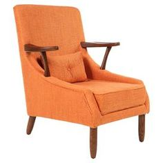 """Add a timeless touchto your living room or master suite with thislovely wood arm chair, showcasingfabric upholstery and a walnut-finished frame.     Product: ChairConstruction Material: Solid ash wood, polyester, and cottonColor: Walnut and orangeFeatures: Midcentury-inspired designDimensions: 32.25"""" H x 21.25"""" W x 28.38"""" D"""