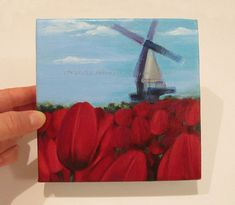 Spring TULIPS ORIGINAL Painting Windmill Red by NataliaDENGER