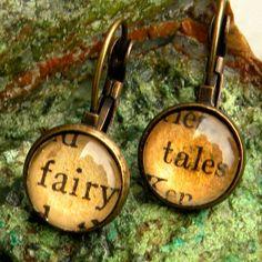 Word Earrings   FAIRY TALE      Vintage Words Glass by Msemrick
