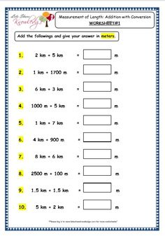 Grade 3 Maths Worksheets: Measurement of Length - Subtraction with Conversion) - Lets Share Knowledge 7th Grade Math Worksheets, Measurement Worksheets, Free Printable Math Worksheets, Science Worksheets, Reading Worksheets, 2nd Grade Math, Abc School, Middle School, Math Games