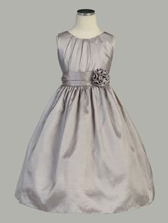 Pleated Solid Taffeta Dress w/ Hand Rolled Flower. Available in silver, navy, pink, lilac, red and off white.