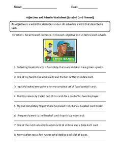 Baseball field diagram baseball activities pinterest baseball adjectives and adverbs worksheet baseball card themed ccuart Image collections