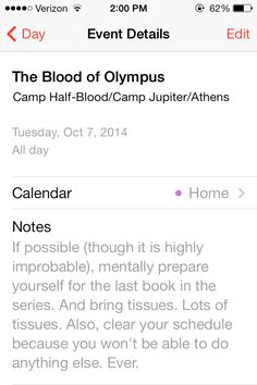 The Blood of Olympus. Percy Jackson. The Heroes of Olympus. And unfortunately the last book. No.