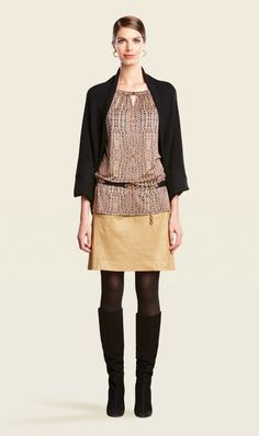 this is great.  also with brown legging and brown sweater.