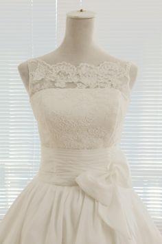 Vintage Inspired Lace Taffeta Wedding Dress Bridal Gown V Back Scalloped Edge Prom Ball Gown Skirt Knee Tea Short Wedding Dress. $149.00, via Etsy.