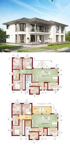 Zweifamilienhaus mit Einliegerwohnung - Grundriss Haus Celebration 282 V4 Bien Zenker Fertighaus - HausbauDiekt.de