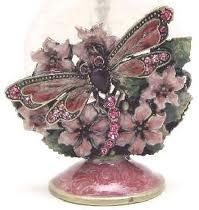 Passiflora Pink Floral Dragonfly Perfume Bottle - WOW!
