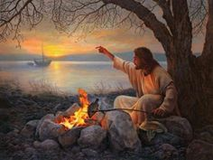 It looks like Jesus is relaxing at a campfire.