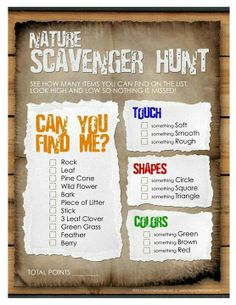 Awesome idea for a birthday party! Nature scavenger hunt for the kids! Fun for school groups, Girl Scouts, and parties! Nature Scavenger Hunts, Scavenger Hunt For Kids, Scavenger Hunt Template, Outdoor Scavenger Hunts, Girl Scout Camping, Party Fiesta, Daisy Girl Scouts, Girl Scout Daisies, Brownie Girl Scouts