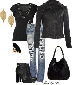 A fashion look from November 2012 featuring Raxevsky tops, AllSaints jackets and 1921 jeans. Browse and shop related looks. Fall Outfits, Summer Outfits, Cute Outfits, Fashion Outfits, Black Outfits, Love Fashion, Fashion Looks, Womens Fashion, Rocker Look