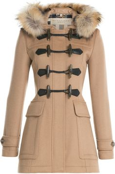 $1,395, Burberry Brit Wool Duffle Coat With Fur. Sold by STYLEBOP.com. Click for more info: https://lookastic.com/women/shop_items/324607/redirect