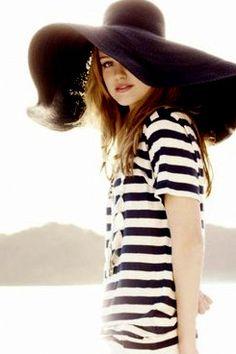 striped shirt black hat