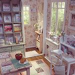 Shabby Peach Craft room and Hall!  :) Tonight! This time I made a small hall that you can add to the diorama or use them separately ;) #shabbychic #dollhouse #miniature #blythe #pullip #barbie #momoko #bjd #craft por Keera