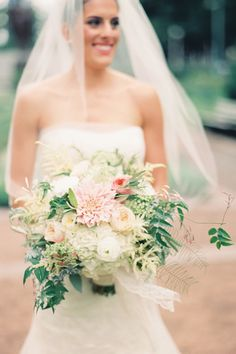 Pink and White Bridal Bouquet with Dahlias and Roses