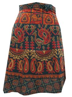 Womens Mini Wrapskirt Blue Jaipuri Printed Cotton Holiday Wear Short Wrap Dress