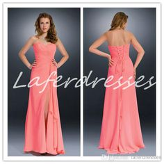 Wholesale 2014 Bridesmaid Dresses - Buy 2014 Bridesmaid Dresses with Sweetheart Lace Up Side Slit Sheath Long Coral Chiffon Wedding Bridesmaid Dress Cheap Maid of Honor Gowns 0222, $84.6   DHgate