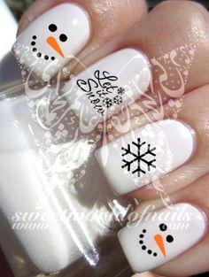 Olaf Christmas Nail Art Design