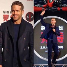 Mr #RyanReynolds styled by the amazing @ilariaurbinati in our #ToddSnyder sweater with a beautiful coat by #Ferragamo. #Deadpool #PressParty